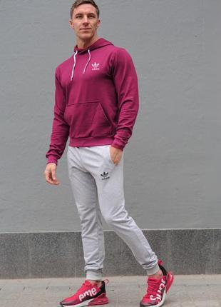 Мужской спортивный костюм adidas (адидас), бордовая худи и сер...