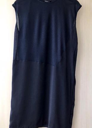 Темно-синее платье тонкой вязки mango / s