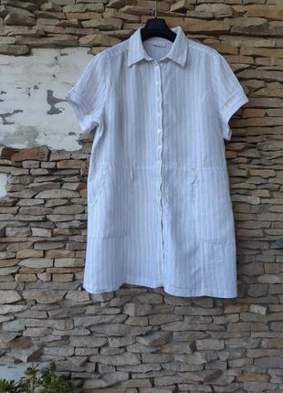 Стильное льняное с карманами платье рубашка большого размера