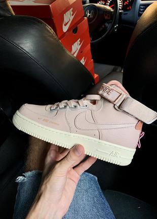 Женские кожаные кроссовки nike nike air force 1 high utility pink