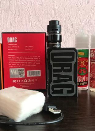 VooPoo DRAG 157W Gene Chip, 2 батареи + Zeus Dual RTA + жидкос...