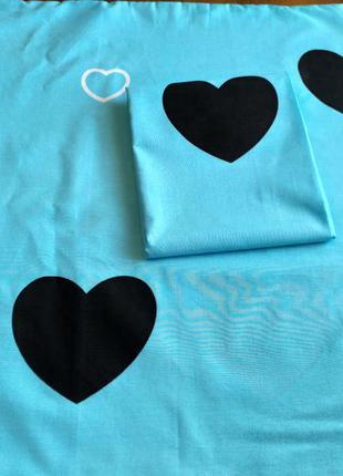 Наволочки - сердечки на голубом, быстрая отправка, все размеры