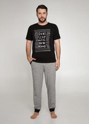 Мужская хлопковая пижама черного цвета с коротким рукавом ellen