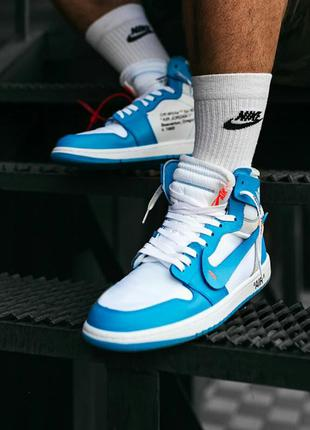 Кросівки nike air max jordan  1 off-white blue кроссовки