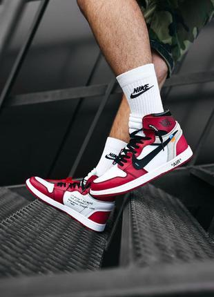 Кросівки nike air max jordan  1 off-white red  кроссовки