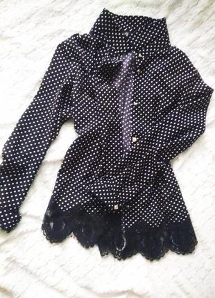 Красивая блуза-рубашка в горошек с кружевом от elegance