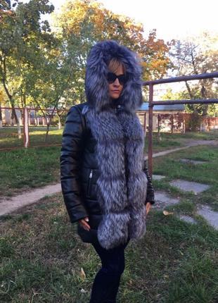 Женская кожаная куртка трансформер с мехом чернобурки