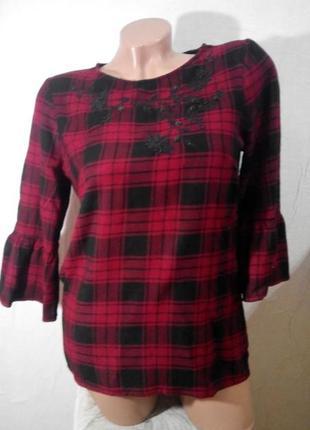 Блуза с воланом на рукавах s/m