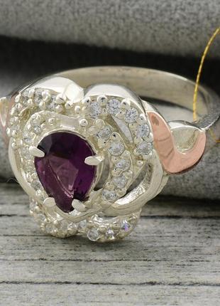 """Серебряное кольцо с золотыми пластинами """"гера"""", вставка фиолет..."""