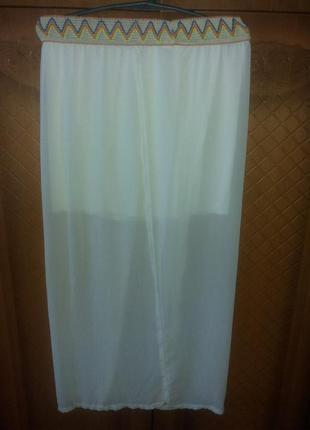 Классная лёгкая летняя белая юбка-макси на запах от wei feelin...