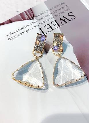 Серьги  с кристаллами
