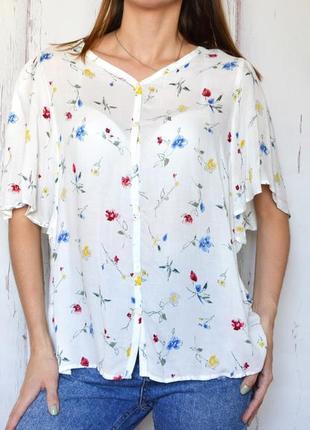 Женская шифоновая блуза с коротким рукавом