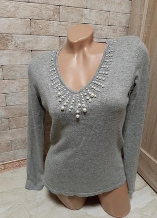 Нарядный джемпер пуловер  из шелка и ангоры