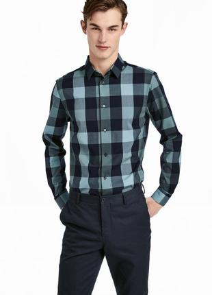 Клечатая рубашка h&m , slim fit !