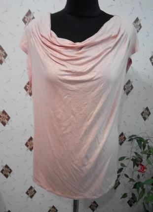 Блуза, футболка цвета пудры с золотистым напылением  из вискоз...