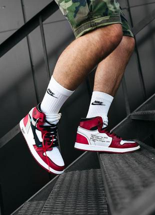 "Nike air jordan  1 ""off-white""  кроссовки найк джордан красные"