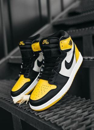 "Кроссовки nike air jordan  1 ""yellow black"" найк джордан желтые"