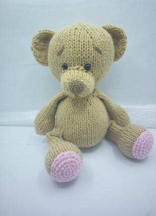 Игрушка мишка мягкий вязаный медведь, подарок ребенку 3+