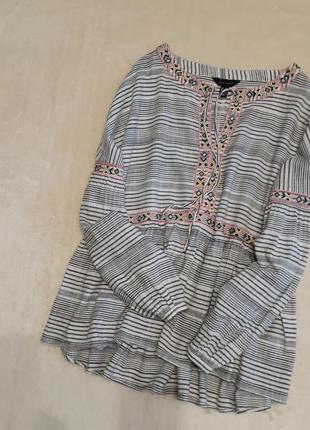 Блуза хлопок в полоску с вышивкой красивый длинный рукав разме...