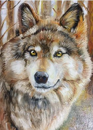 Картина маслом, «Волк» холст (размер 35*50)