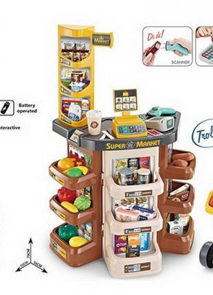 Игровой набор супермаркет с тележкой 668-77, тележка, продукты