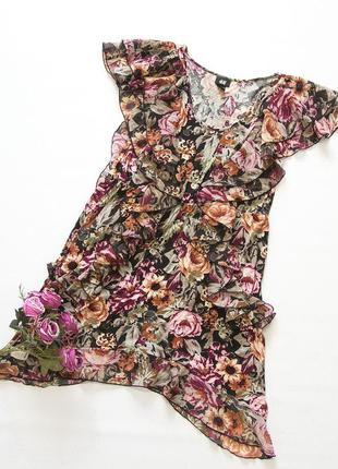 Моднейшее платье, h&m. цветы, рюши.