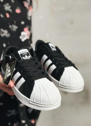 Женские кроссовки adidas superstar black white sole