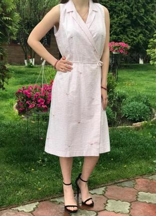 Платье на запах в принт фламинго р.s/m