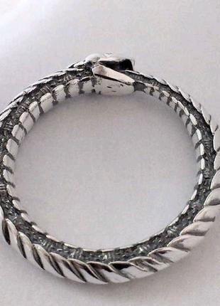 Кольцо уроборос из серебра ручной работы