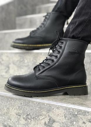Мужские зимние кожаные ботинки мартинсы dr. martens 1460 black...