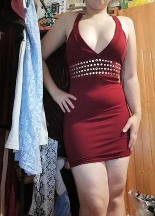 Новое платье бандо с вырезом винного цвета / размер с