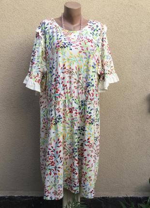 Платье,трикотаж ткань,рюши,воланы,большущий размер,этно,бохо,д...