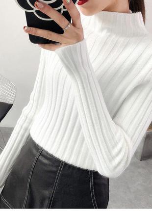Гольф свитер водолазка в рубчик