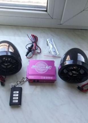 Магнитола на скутер мотоцикл / сигнализация, музыка, USB, ради...