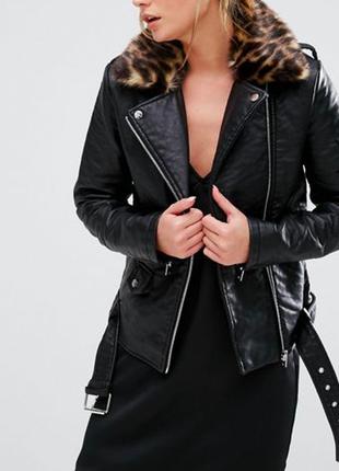 New look кожаная косуха с ремнем куртка с мехом asos bershka