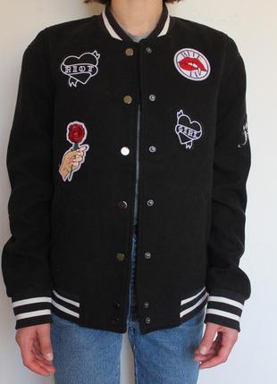 H&m шерстяной бомбер куртка с патчам bershka asos pull&bear