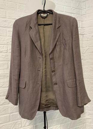 Пиджак  жакет стильный женский льняной серо-коричневый