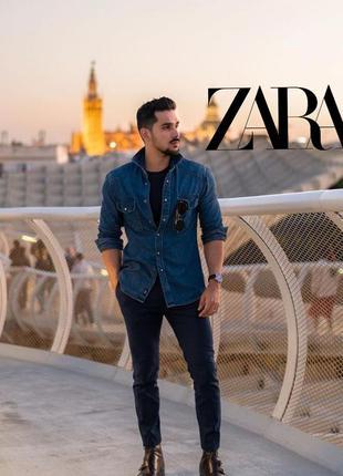 Zara man мужская джинсовая рубашка на кнопках