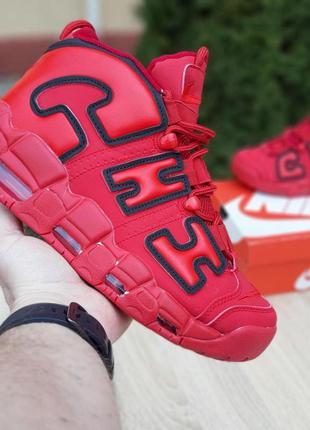Nike air more uptempo кожа красные