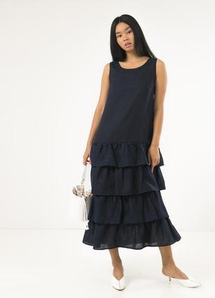 Летнее платье season из льна с оборками темно-синего цвета