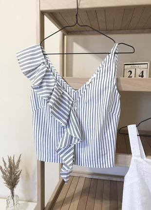 Блуза топ в полоску на молнии