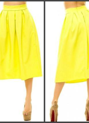 Юбка летняя расклешенная завышенная талия миди желтая клеш -  ...