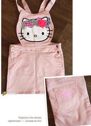 Джинсовый комбинезон с юбкой h&m hello kitty нежно розовый на ...