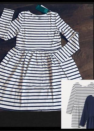 Платье h&m basic organic cotton белое в синюю полоску с длинны...