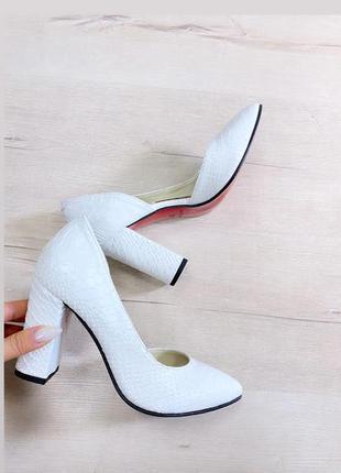 Белый питон туфли кожа натуральная