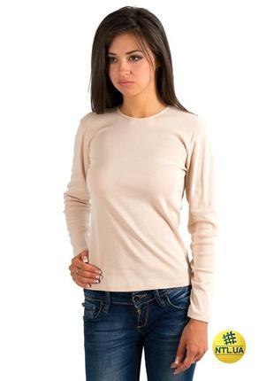 Женская хлопковая футболка с длинными рукавами бежевого цвета ...