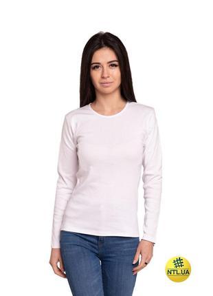 """Женская хлопковая футболка с длинными рукавами белого цвета """"н..."""