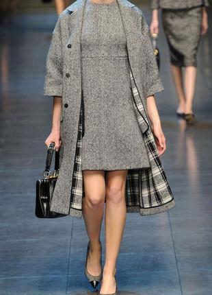 Dolce and gabbana италия оригинал теплое шерстяное серое платье