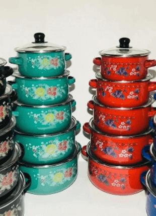Набор кастрюль, набор эмалированной посуды