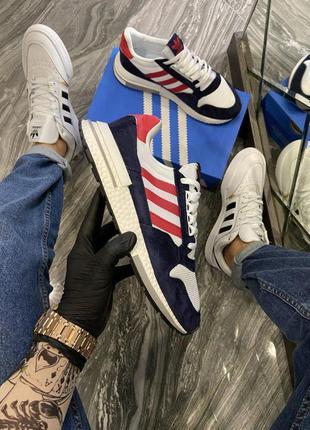 Мужские  кроссовки🔺adidas zx 500 blue white red🔺весна/осень